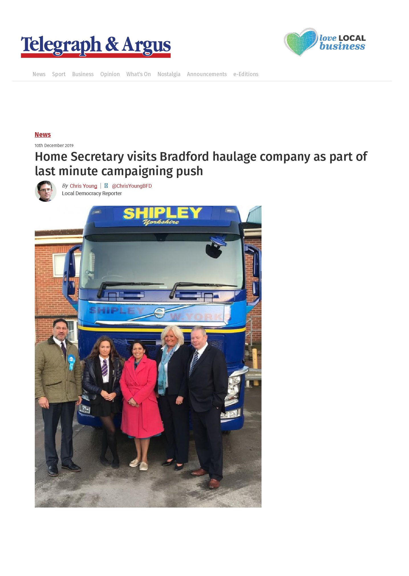 Home Secretary visits Bradford haulage company as part of last minute campaigning push
