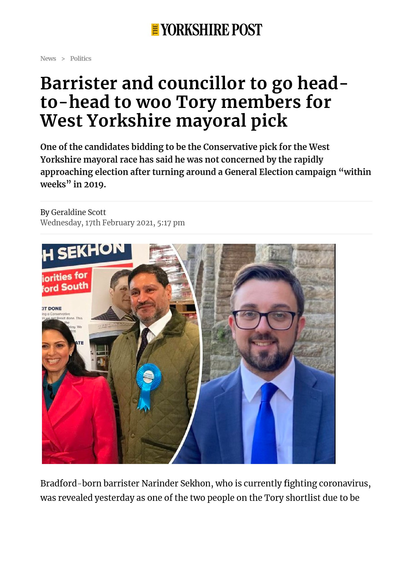 Barrister and councillor to go head-to-head to woo Tory members for West Yorkshire mayoral pick