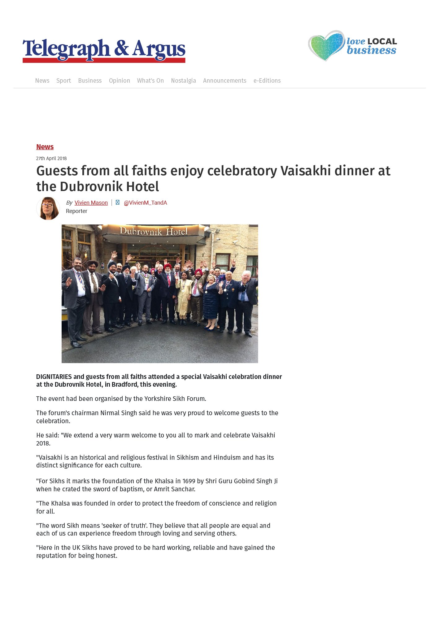 Guests from all faiths enjoy celebratory Vaisakhi dinner at the Dubrovnik Hotel