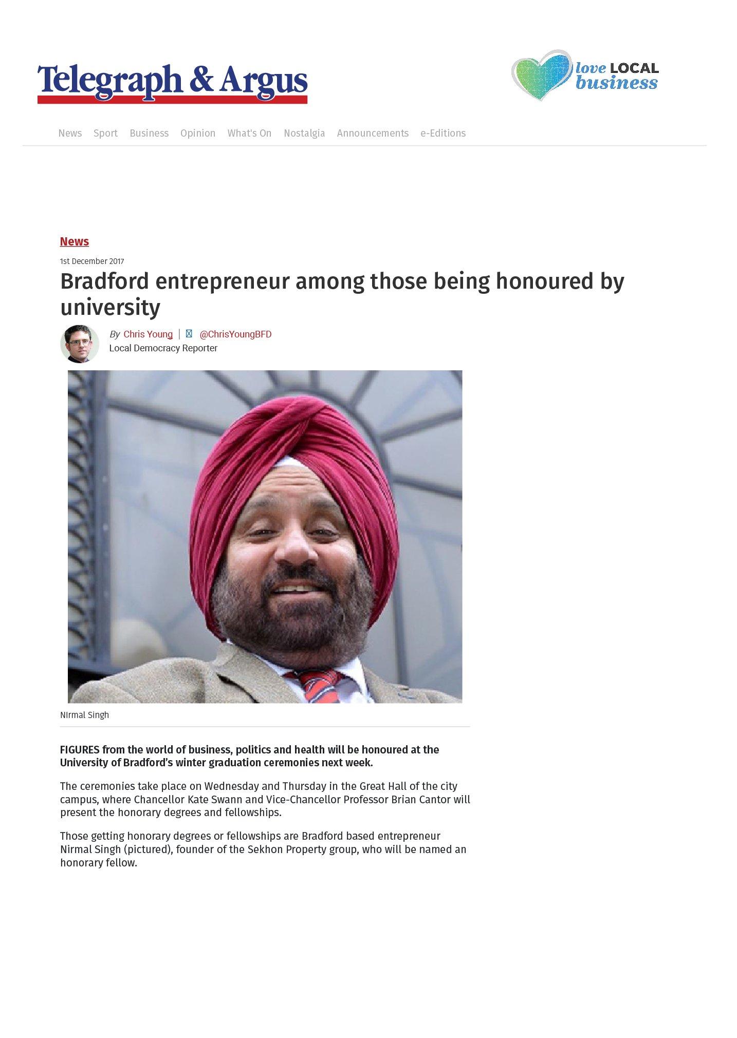 Bradford entrepreneur among those being honoured by university